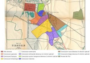 Plan montrant la configuration de la ville dans les années 1930 (Plan réalisé à partir d'une carte datant de 1900 et appartenant à la collection du site Virtual Tianjin (ID 1464) : http://virtualtianjin.net/Maps/Collection?ID=1464)