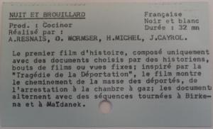 "Fiche ""Nuit et Brouillard"", Fichier CH2GM, ©IHTP-CNRS"