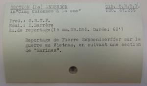 Exemple de fiche de la cinémathèque de l'ORTF, sur la guerre au Vietnam, Fichier CH2GM, ©IHTP-CNRS